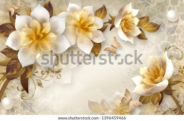 3d flower wallpaper mural