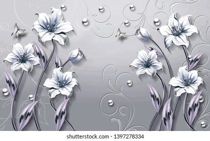 3d flower wallpaper 3d beautiful background-illustration