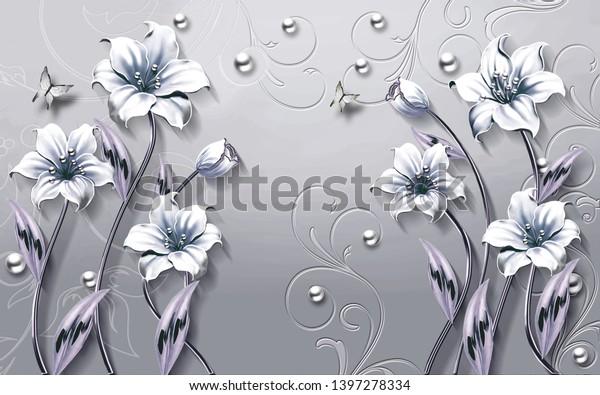 3d flower wallpaper background-illustration for home walls