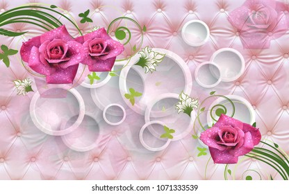 3d Flowers abstraction. Photo wallpaper for the walls. 3D rendering.