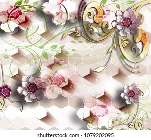 3d Flowers abstraction wallpaper for walls.