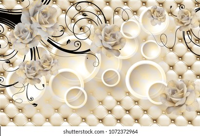 3d Flowers background with circle wallpaper for walls.
