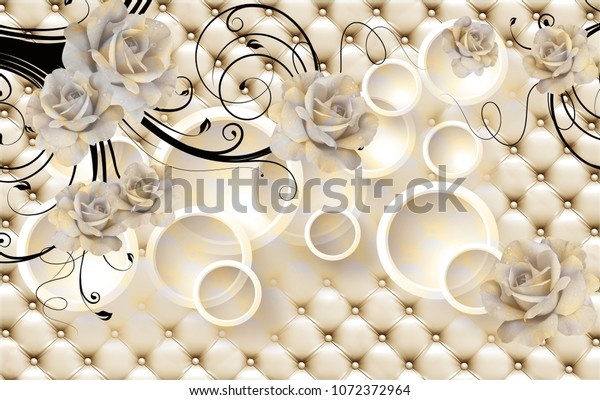 3d Flowers background with circle wall mural