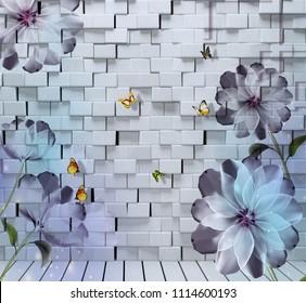 3D Flowers on bricks background wallpaper, 3d rendering.