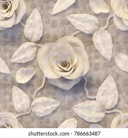 3d flowers, roses, fabric texture, seamless