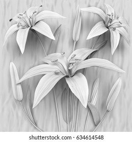 3d flowers, White lilies