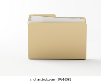 a 3d folder on a white ground