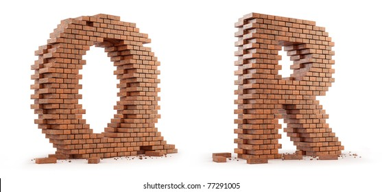 3D font build out of bricks based on the OpenSans font