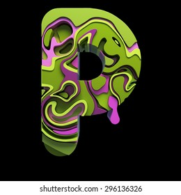 3d font letter P with colorful marbling effect