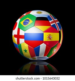 3D football soccer ball with national flags. Isolated on black