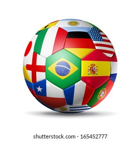 3D football soccer ball with nations teams flags. Isolated on white with clipping path