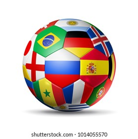 3D football SoccerBall with Flags isolated on white background