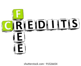 3D Free Credits Crossword on white background