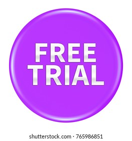 3d free Trial button isolated