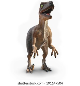 3d front view render of a velociraptor