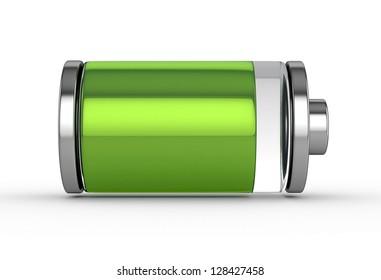 3D Full Battery symbol white isolated
