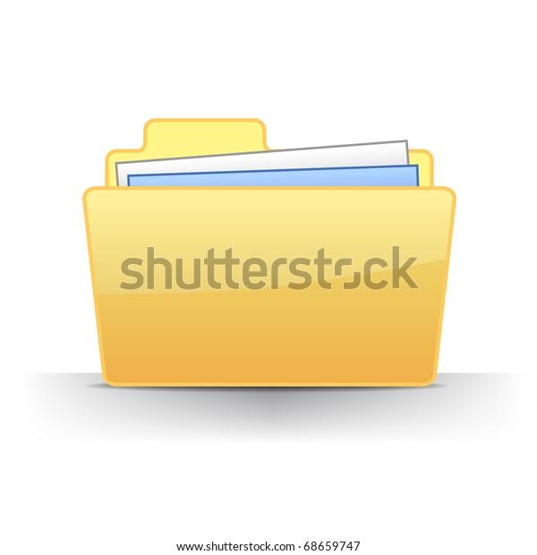 3d full files folder icon illustration