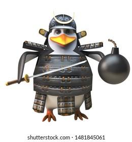3d funny cartoon penguin samurai warrior character holding a sword and gunpowder bomb, 3d illustration render