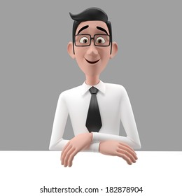 3d funny character, cartoon sympathetic looking business man, dear person in suit with glasses and tie