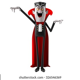 3d funny character, comic Dracula Halloween illustration isolated on white background
