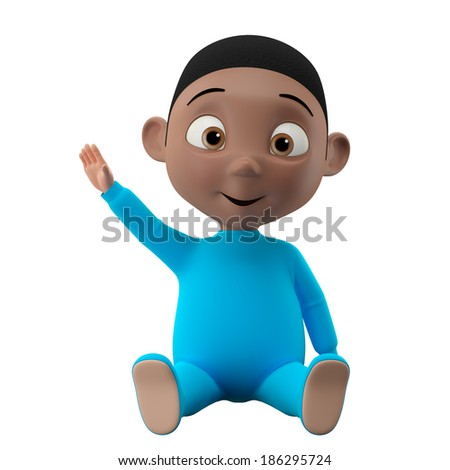 30498f542 3d funny character, sweet black baby boy icon, smiling cartoon child  isolated on white