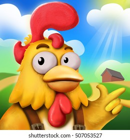 The 3d Funny Chick Farmer And His Farm under the Sun. Video Game's Digital CG Artwork, Concept Illustration, Realistic Cartoon Style Background and Character Design