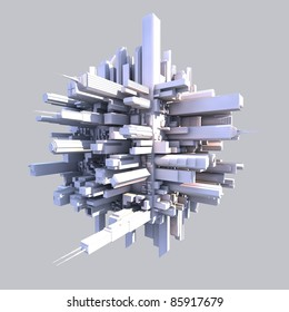 3d futurist city with buildings on gray background