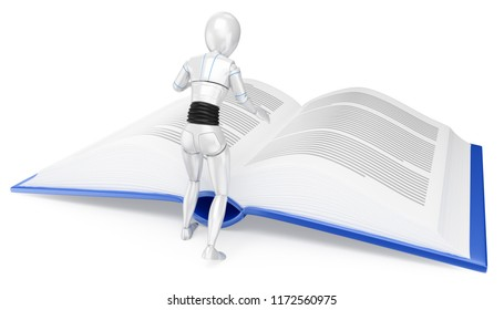 3d futuristic android illustration. Humanoid robot reading a huge book. Isolated white background.