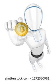 3d futuristic android illustration. Humanoid robot mining a cryptocurrency bitcoin. Isolated white background.