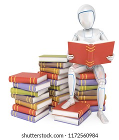 3d futuristic android illustration. Humanoid robot sitting on a pile of book reading. Isolated white background.