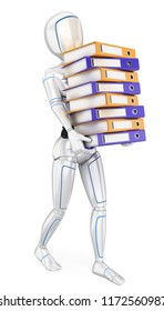 3d futuristic android illustration. Humanoid robot loading with many ring binders. Work overload. Isolated white background.