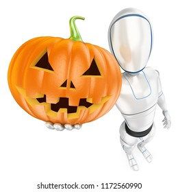 3d futuristic android illustration. Humanoid robot with a big pumpkin. Halloween. Isolated white background.