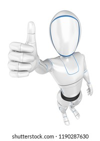 3d futuristic android illustration. Humanoid robot with thumb up. Isolated white background.