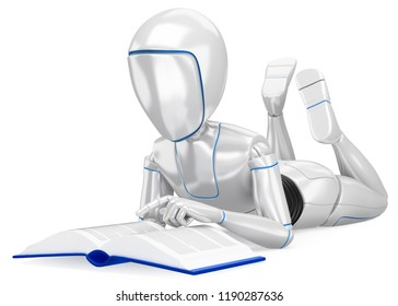 3d futuristic android illustration. Humanoid robot lying reading a book. Isolated white background