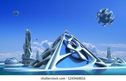 3D futuristic city architecture with a glass pyramid and towers surrounded by vine-like organic structures against a marina skyline, for fantasy and science fiction illustrations.