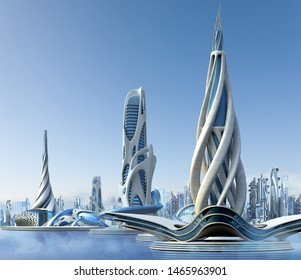 3D futuristic city with a marina skyline and organic high-rise architecture, for fantasy and science fiction illustrations.