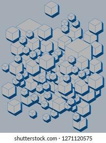 3D Futuristic Cubes, Geometric shape