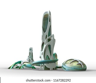 3D futuristic sci fi city architecture with organic skyscrapers and buildings isolated on white, with the work path included in the file, for science fiction or fantasy backgrounds.