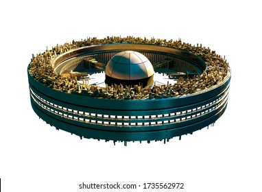 3D futuristic sky-city on a spaceship wheel structure with clipping path included in the Illustration, for science fiction architecture or video game backgrounds.