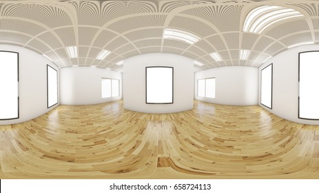 3d gallery room  illustration spherical 360 vr degrees, a seamless panorama of the room and interior design for business room (3D rendering)