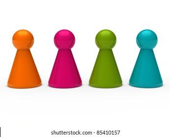 3d game figure team orange pink blue