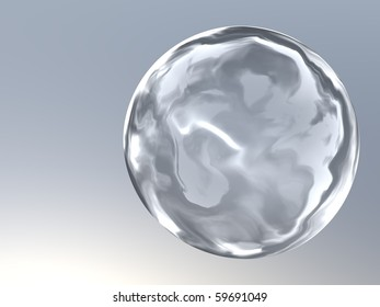 3d generated glass button on gray steel background with place for text