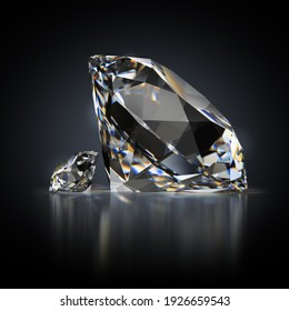 3d generated image. Small and large diamond on a black reflective background.