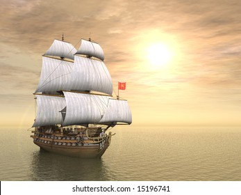 3d generated scene of pirate ship at sunset