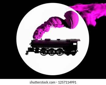 3D generated silhouette of steam locomotive in black and white on white background. Train puffing smoke from his tube. 3D illustration