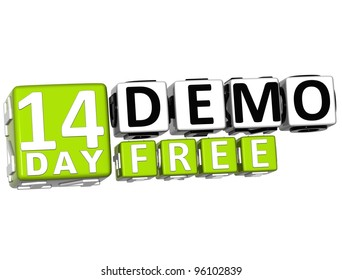 3D Get 14 Day Demo Free Block Letters over white background