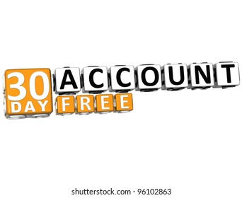 3D Get 30 Day Account Free Block Letters over white background