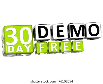 3D Get 30 Day Demo Free Block Letters over white background