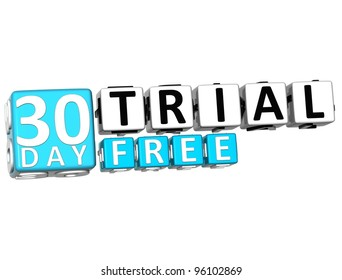 3D Get 30 Day Trail Free Block Letters over white background