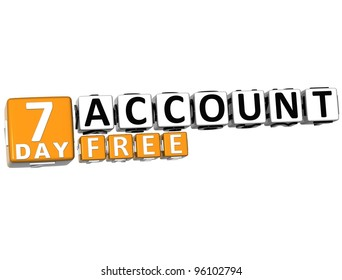 3D Get 7 Day Account Free Block Letters over white background